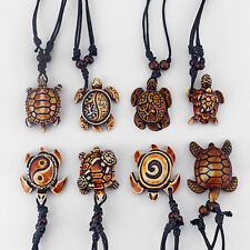 8pcs Mixed Ethnic Tribal Faux Yak Bone Sea Turtle Tortoise Pendants Necklace