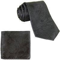 New Men's Polyester Woven Neck Tie necktie & hankie set paisley dark gray prom