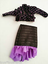 Monster High OUTFIT Shirt Skirt Create a Doll Clothes Ruffled Purple Moon Design