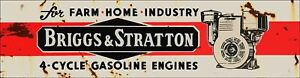 """BRIGGS & STRATTON 4 CYCLE GAS ENGINES 20"""" HEAVY DUTY USA MADE METAL ADV SIGN"""