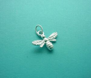 925 Solid Sterling Silver Honey BEE Charm on Open Jump Ring
