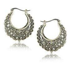 Bohemian Boho Style Hollow Carved Vine Round Tibetan Silver Stud Hoop Earrings