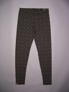 Hollister by Abercrombie Women's Green & White Pattern High Rise Leggings   NWT