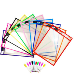 12 Pack Dry Erase Pockets Sleeves Sheet Protector Oversized School Daycare
