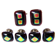 DICHROIC Fused GLASS Cuff Links Tuxedo Studs Red Gold Pink Mens Formal Wear
