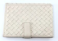 LODIS Cross Weaving White Leather Passport Travel Wallet