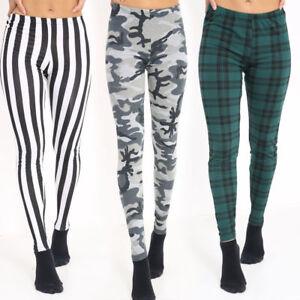New Womens ladies Jersey Various Printed Leggings Pants Size UK 8-22
