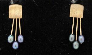 14K yellow gold elegant 4.7 x 3.8mm blue pearl abstract dangle earrings