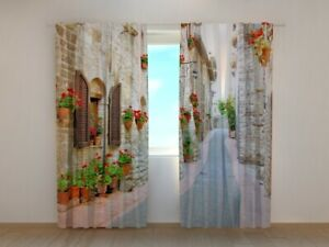 3D Photo Curtain Italian Alley with Flowers 2 By Wellmira Made to Measure