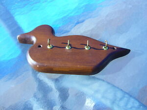 Wooden Duck hand made key chain/ring holder wall mount Cabin decor