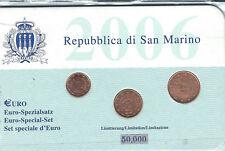 SAN MARINO ANNO 2006 1- 2- 5 CENTESIMI CONFEZIONE TIRATURA 50.000
