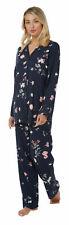 Ladies long Sleeve Pyjama set Navy with Pink Floral Size 8/10 - 24/26