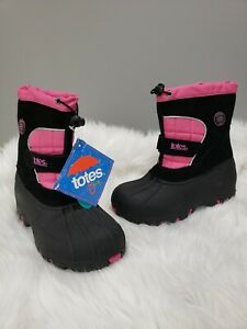 Girl's Size 4 Totes Kids Jaclyn Slip On Winter Boots Black Pink Waterproof Shell