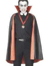 PVC REVERSIBLE VAMPIRE CAPE, BLACK & RED, HALLOWEEN FANCY DRESS UNISEX