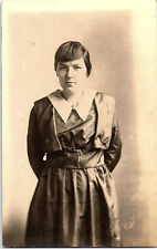 Vintage Photograph - Girl Not Smiling - RPPC - Black and White - Old Photos