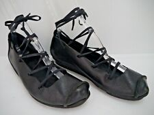 TRIPPEN black leather lace-up ballerina flats shoes size 39