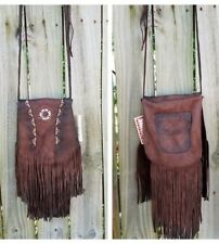 LEATHER Cowgirl Gypsy FRINGE  Boho Bag Handbag Purse Western  beaded messenger