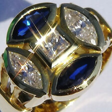 10 Grams 18K SOLID GOLD Narural BLUE SAPPHIRE & DIAMOND RING US Size 7.25