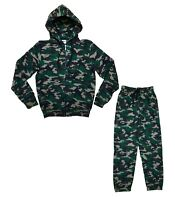 Men's Camouflage Army Print Tracksuit Hooded Zip Jacket Bottoms Hoodie Top Set