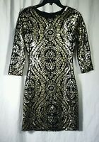 NWT Gianni Bini Stacia Black and Gold Sequin Dress Size XS MSRP  $129