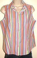 Talbots Petites Wrinkle Resist Stretch Cotton Button-Down Sleeveless Shirt 8P