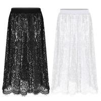 Women's Lace High Waist See Through Skirt Midi Long Maxi Beach Dress Underskirt