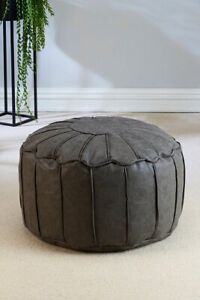 Faux Soft Leather Moroccan Footstool 100% Polyester Grey Dining Room Chair NEW