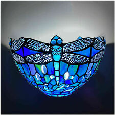 Tiffany Wall lamp Dragonfly Style Blue Colorful Glass of Vintage Pattern