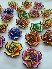 10 Polymer Clay Flower Beads Jewelry Making Rose Large Mixed 30-35 mm Findings