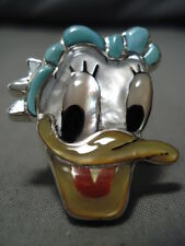 IMPORTANT DAISY DUCK ZUNI NATIVE AMERICAN TURQUOISE STERLING SILVER DISNEY RING