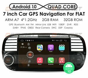 7''Autoradio für Fiat 500 2007-2014 Android 10.0 GPS Navi BT WIFI USB 2GB & 32GB
