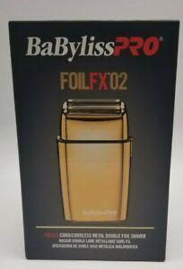 BaByliss Pro Cordless Metal Double Foil Shaver Gold FOILFX02 FXFS2G