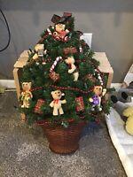 Teddy Bear, Gift & Candy Cane Lighted Christmas Tree Decor - Lights Do Not Work