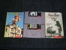 Paperboy 2 & Addams Family Values + Manuals for SNES. Authentic. Clean/Tested!
