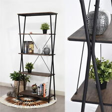 5Tiers Retro Metal Bookcase Storage Display Shelves Unit Wooden Bookshelf Walnut