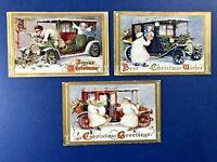 SET 3 Christmas Antique Postcards. Autos w Ladies & Chauffeurs. NICE. 1910 era