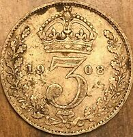 1908 GREAT BRITAIN EDWARD VII SILVER THREEPENCE COIN KM# 797.2