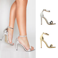 Sexy Womens Ankle Slim Strap Sandals Ladies High Heel Open Toe Comfy Shoes Party