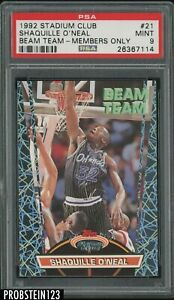 1992-93 Topps Stadium Club Beam Team Members Only #21 Shaquille O'Neal RC PSA 9
