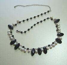LOVELY SILVER FRESHWATER PEARL & ONYX NECKLACE