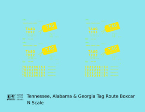 K4 N Decals Tennessee, Alabama and Georgia 40 Ft Boxcar Yellow  TAG Route