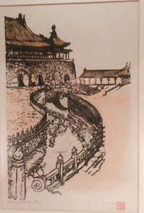 Original EMMY~EMMA BORMANN Woodblock Print~Forbidden City Peking~Beijing China