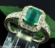 2.22 ct 14k Antique Inspired Yellow Gold Ladies Colombian Emerald Diamond Ring