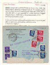 1941 REGNO AEROGRAMMA POSTA AEREA da ROMA a NEW YORK + certificato CAZZAF