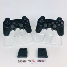 Lot of 2 Finera Wireless Dual Shock Controllers for Sony Playstation 2 PS2