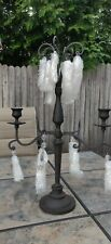 "NEW in Box Wrought Iron Tealight Candelabra 17"" Tall Candle Centerpiece - Heavy"