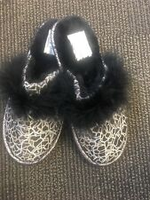 PRETTY YOU London Black Fuzzy Slippers Silver/Pewter. Medium Sz 6.5-7.5 US.