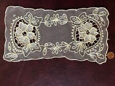 Vintage small lace Centerpiece floral embroidered and appliqué net #3