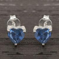 Heart Cut London Blue Topaz 5 MM 925 Sterling Silver Stud Earring Jewelry