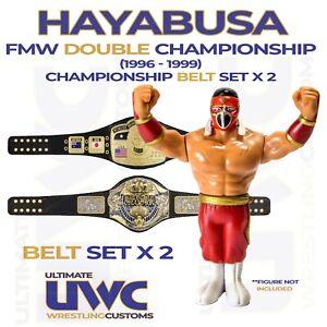 HAYABUSA FMW Double Championship  (1996 - 1999) BELT set x 2 hasbro/chella toys
